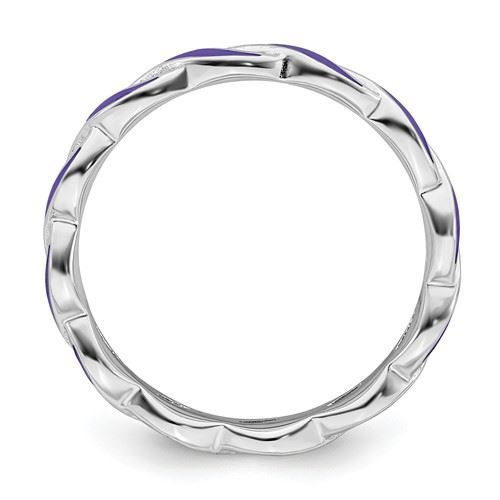 Picture of Sterling Silver Stackable Ring Purple Enamel