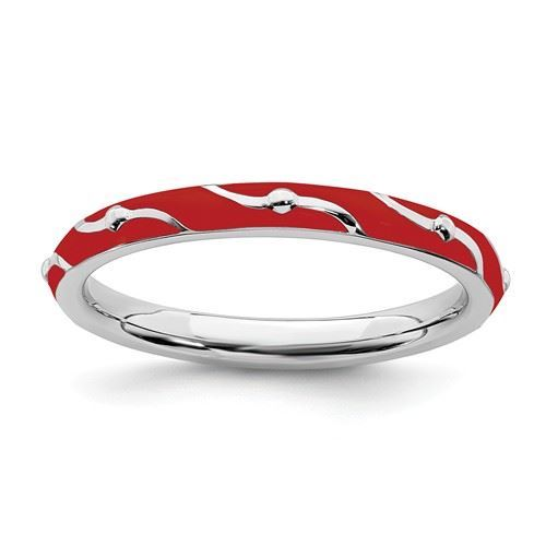 Picture of Sterling Silver Stackable Ring Red Enamel