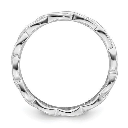 Picture of Sterling Silver Stackable Ring White Enamel