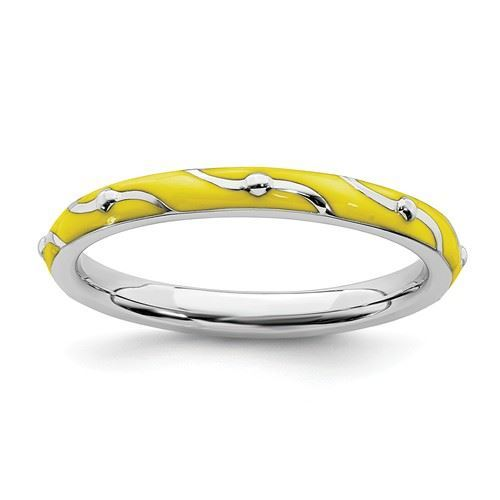 Picture of Sterling Silver Stackable Ring Yellow Enamel