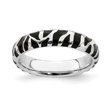 Picture of Silver Stackable Ring 4.50 mm Black Enameled Animal Print