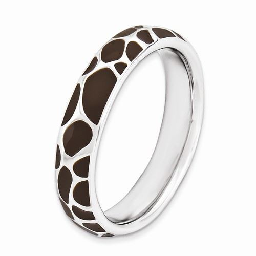 Picture of Silver Stackable Ring 4.50 mm Brown Enameled Animal Print