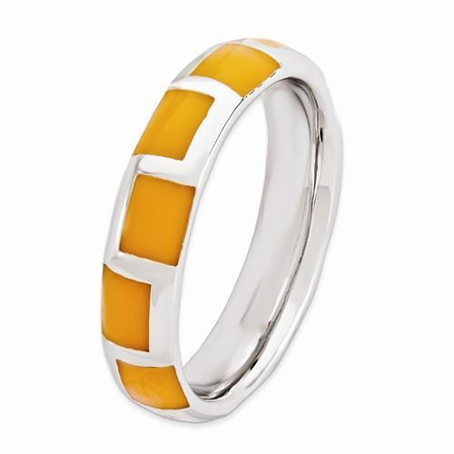 Picture of Silver Stackable Ring 4.50 mm Orange  Enameled