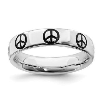 Picture of Sterling Silver Stackable Peace Ring Black Enameled