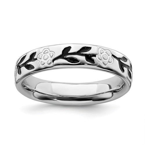 Picture of Sterling Silver Stackable Flower Ring Black Enameled