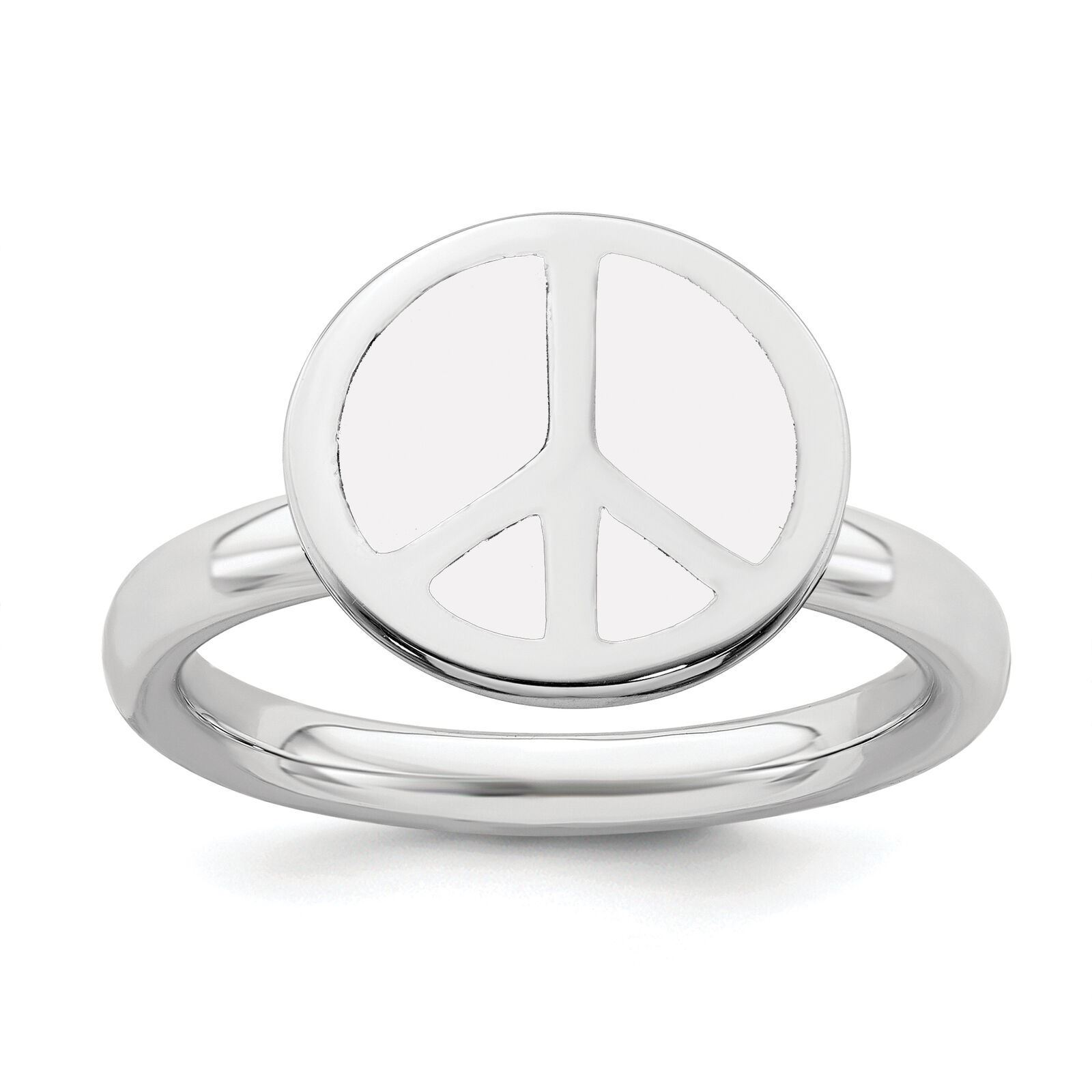 Picture of Silver Stackable Ring 2.25 mm White Enameled Peace Sign