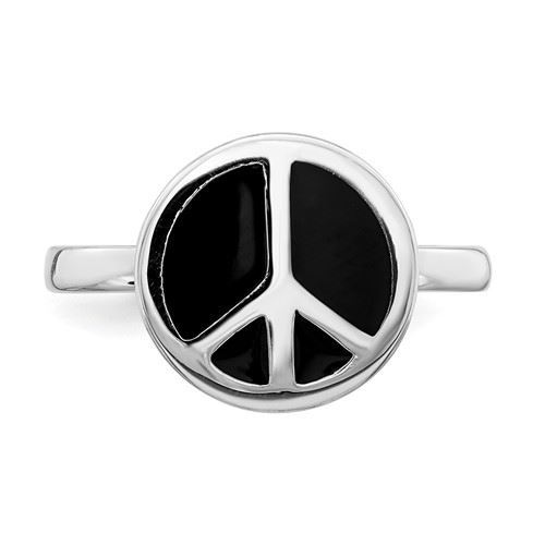 Picture of Silver Stackable Ring 2.25 mm Black Enameled Peace Sign
