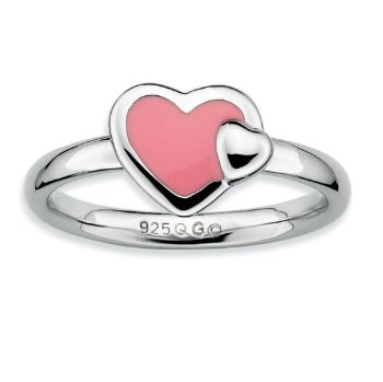 Picture of Silver Stackable Ring 2.25 mm Pink Enameled Hearts