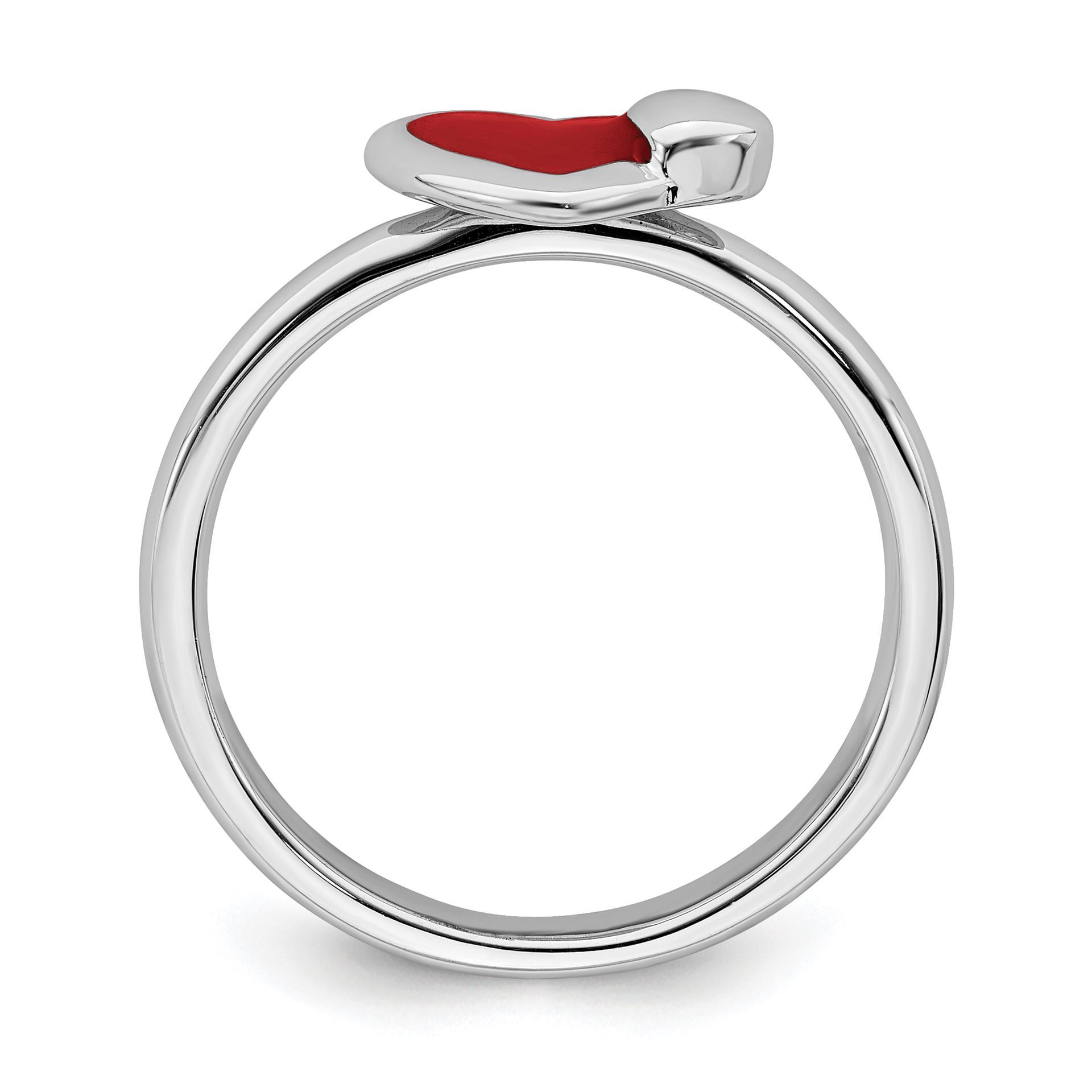 Picture of Silver Stackable Ring 2.25 mm Red Enameled Hearts