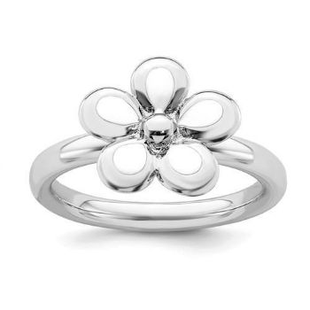 Picture of Silver Stackable Ring 2.25 mm White Enameled Flower