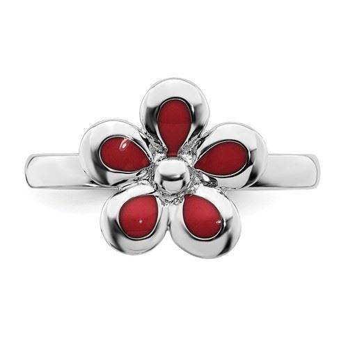 Picture of Silver Stackable Ring 2.25 mm Red Enameled Flower