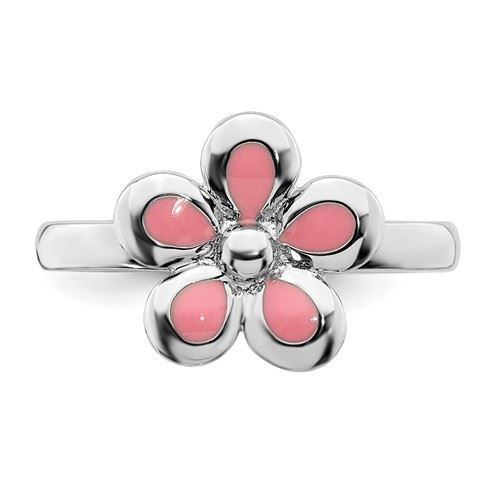 Picture of Silver Stackable Ring 2.25 mm Pink Enameled Flower