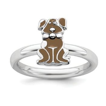 Picture of Silver Stackable Ring 2.25 mm Brown Enameled Dog Design