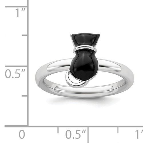 Picture of Silver Stackable Ring 2.25 mm Black Enameled Cat Design
