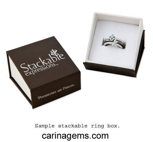 Picture of Silver Stackable Expressions Black Enameled Patterned Ring