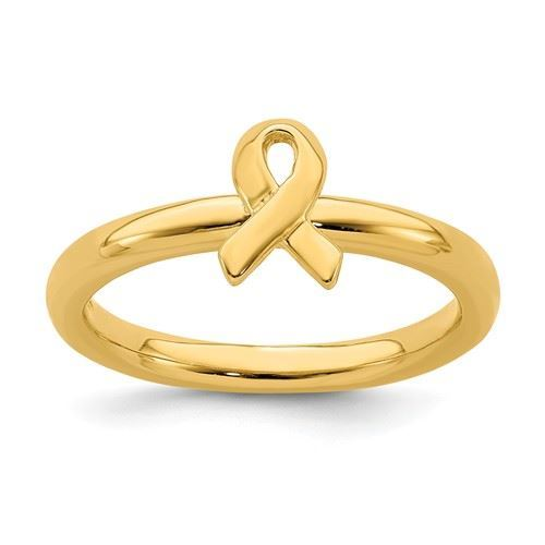 Picture of Silver Stackable 18K Gold-plated Awareness Ribbon Ring