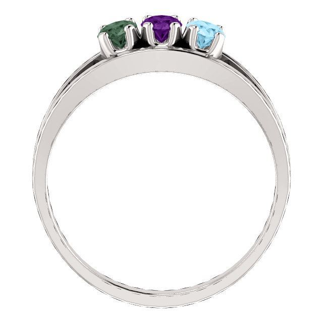 Picture of Silver 1 to 6 Oval Stones Mother's Ring