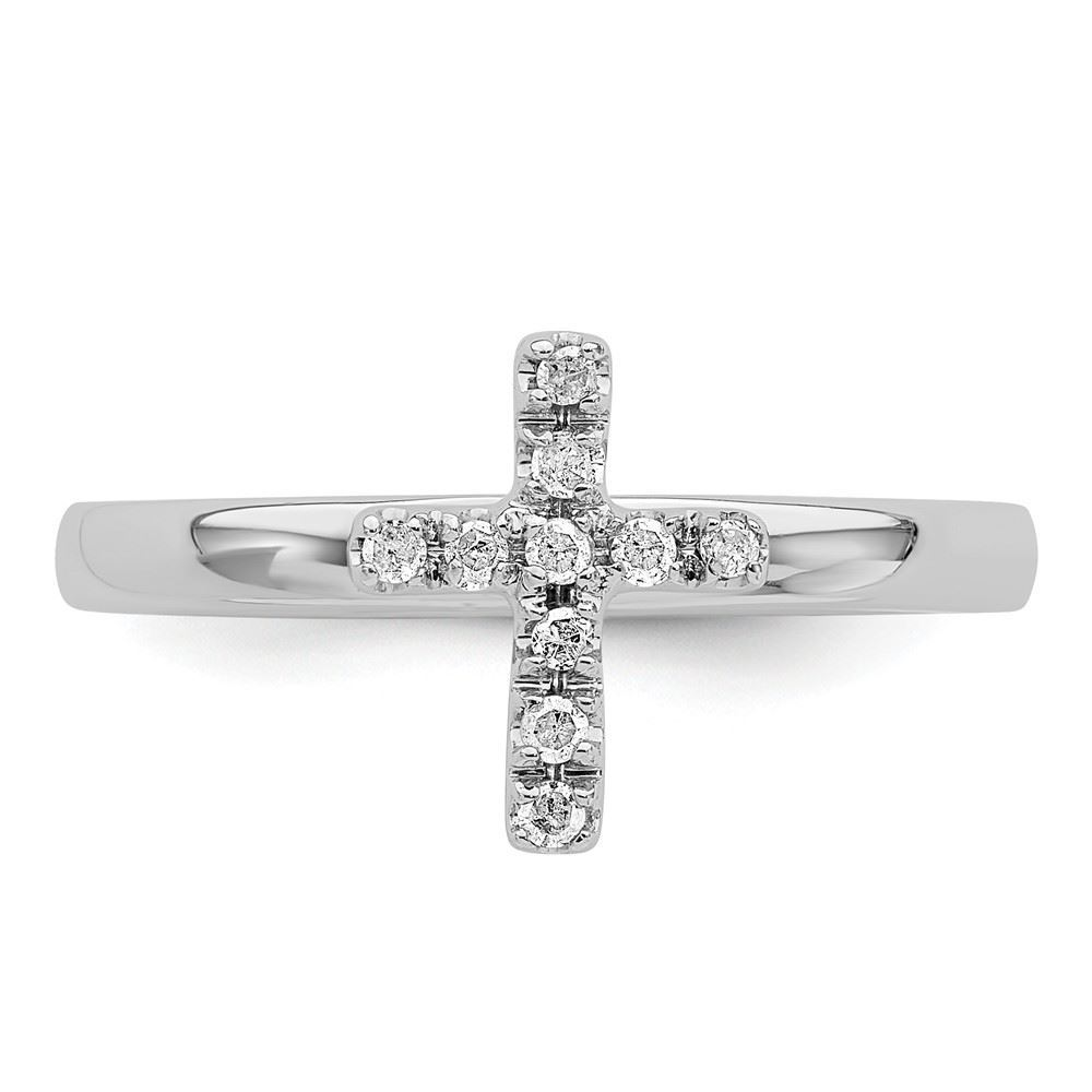 Picture of Silver Stackable Cross Diamond Ring