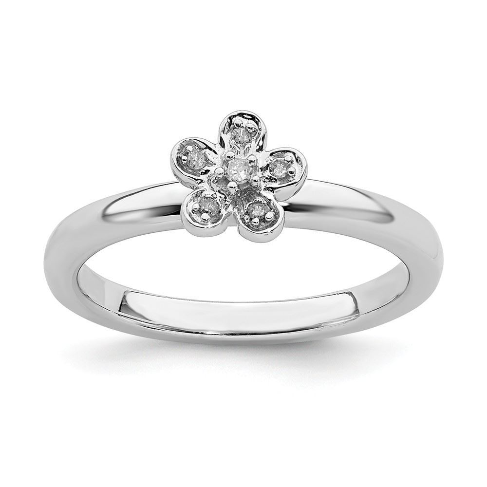 Picture of Silver Stackable Flower Diamond Ring