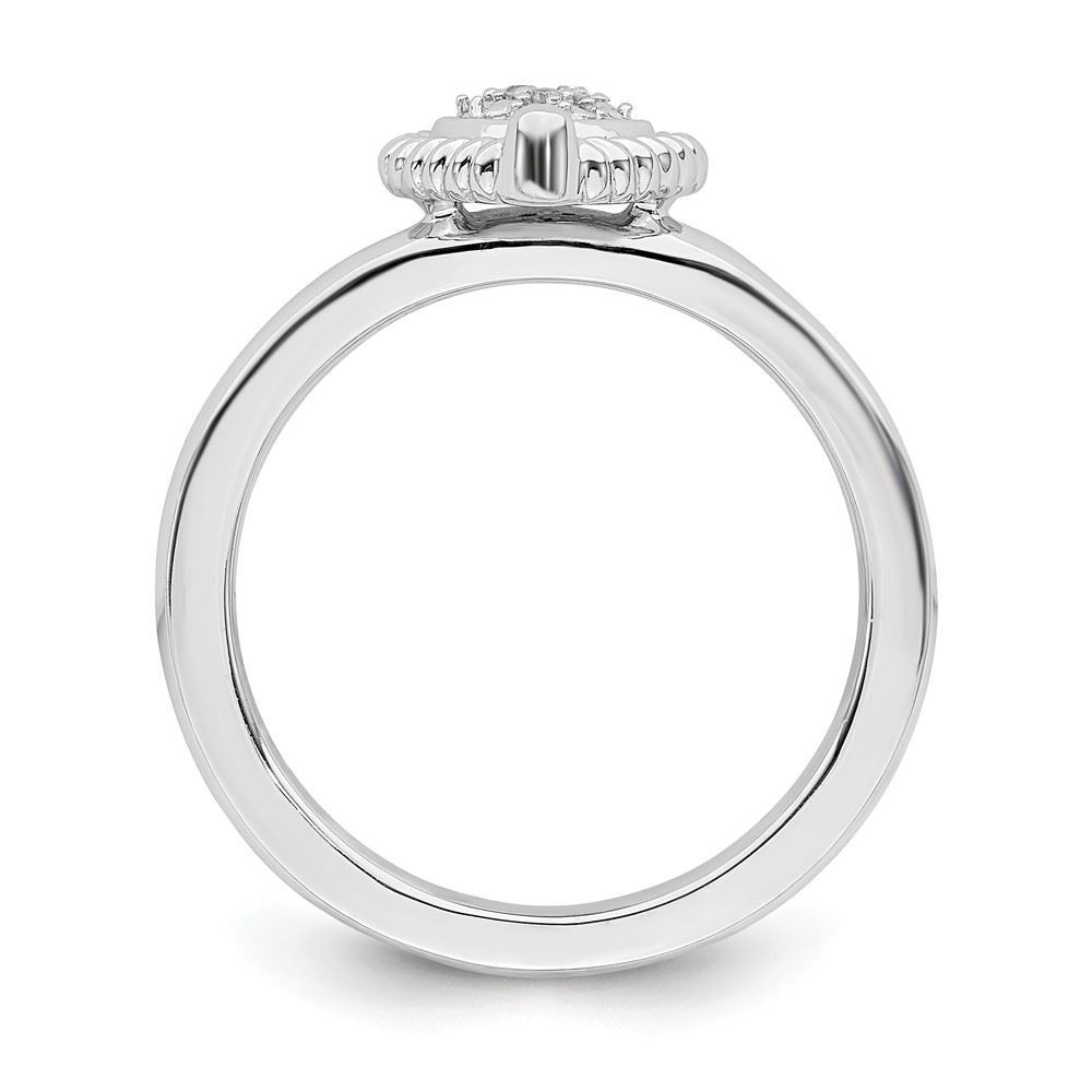 Picture of Silver Stackable Heart Diamond Ring