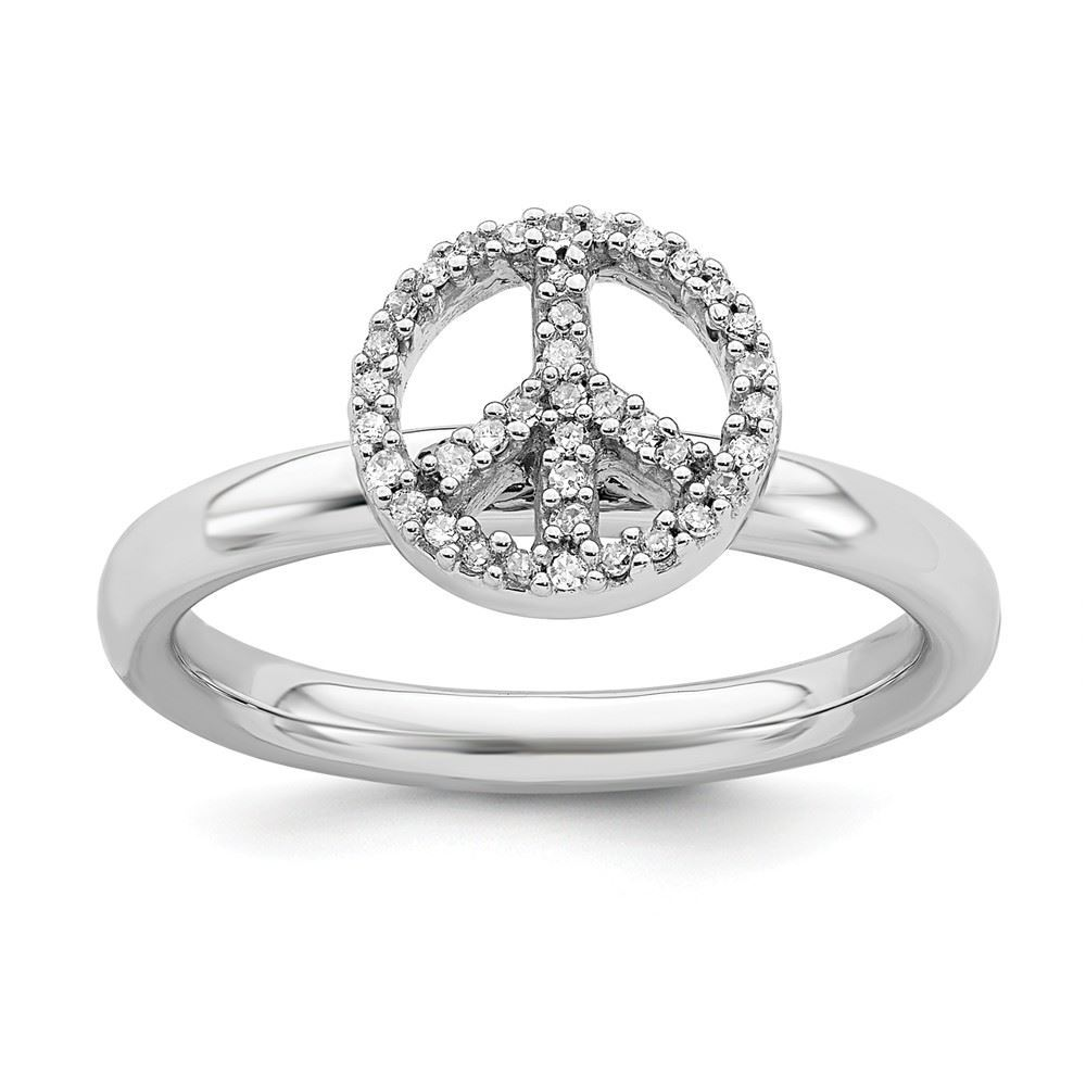 Picture of Silver Stackable Peace Symbol Diamond Ring