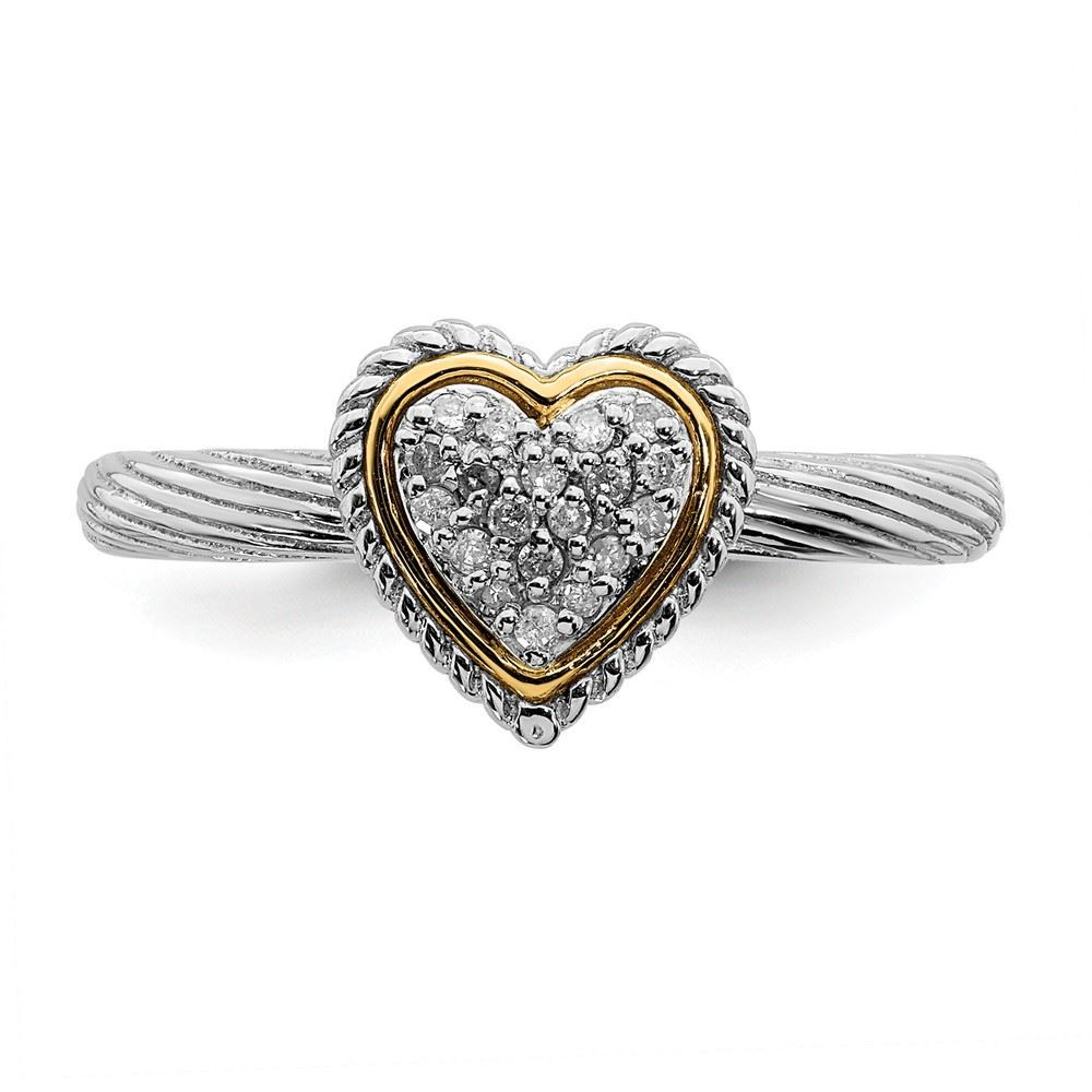 Picture of Sterling Silver Heart Diamond Ring
