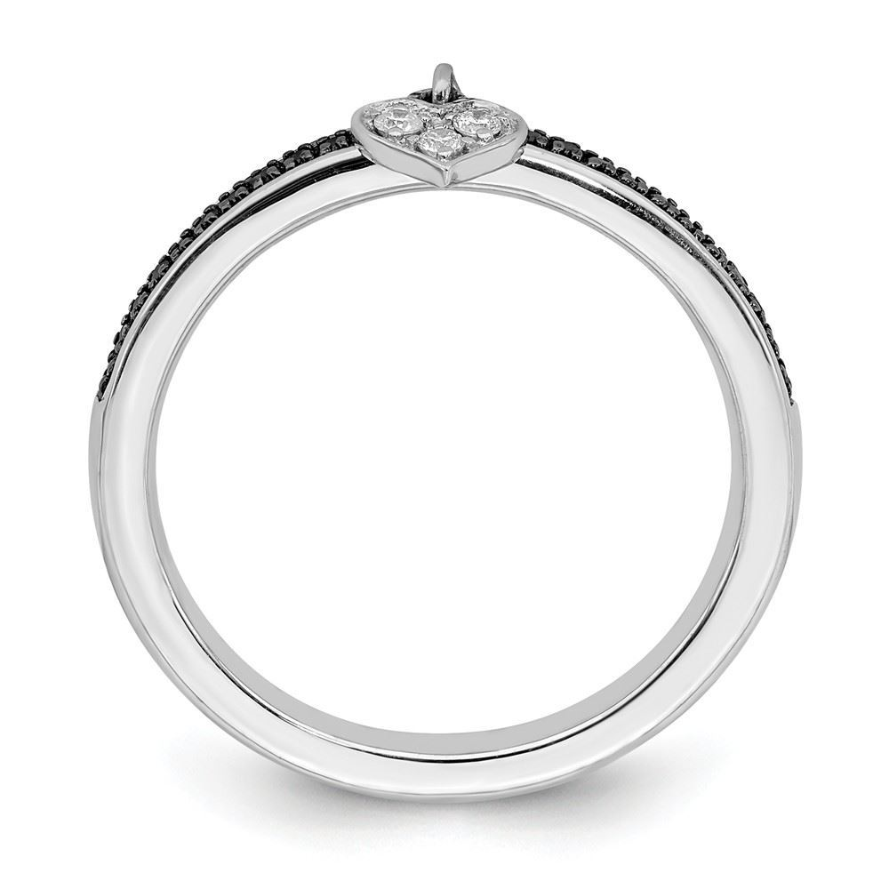 Picture of Sterling Silver Stackable Heart Black & White Diamond Ring