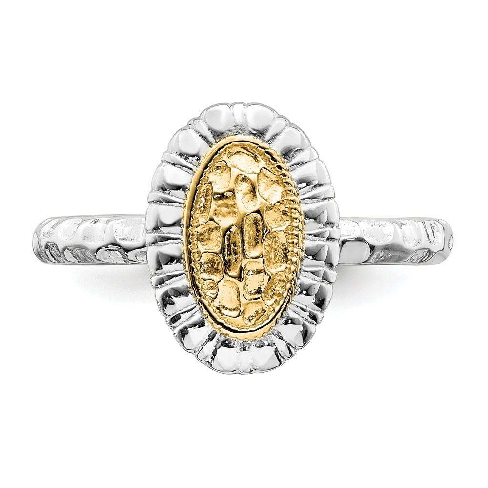 Picture of Sterling Silver Oval Ring with 14K Yellow Gold Accent
