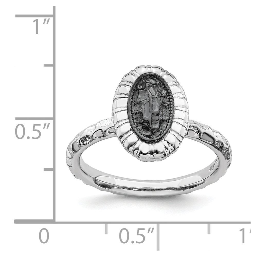 Picture of Sterling Silver Oval Ring Ruthenium-plated