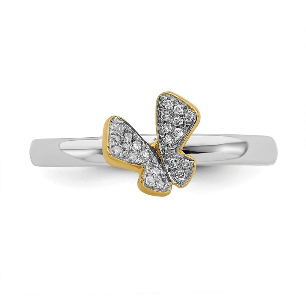 Picture of Sterling Silver Butterfly Diamond Ring