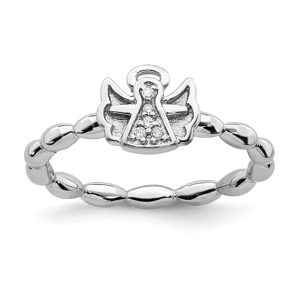 Picture of Diamond Angel With Halo Ring Silver Stackable