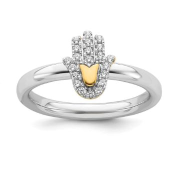 Picture of Diamond Gold-Plated Chamseh Ring Sterling Silver