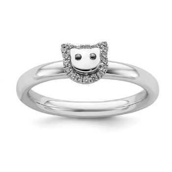 Picture of Diamond Cat Sterling Silver Stackable Ring