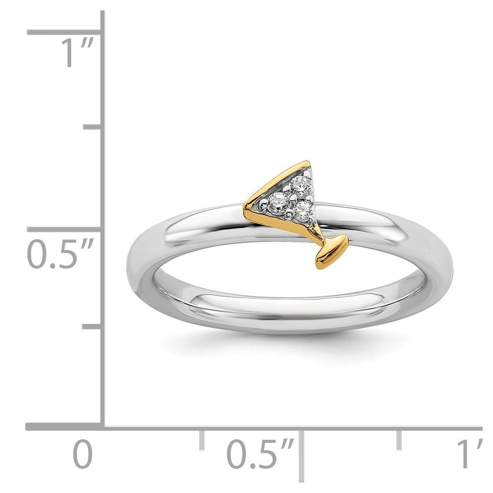 Picture of Diamond Gold-Plated Martini Glass Ring Sterling Silver