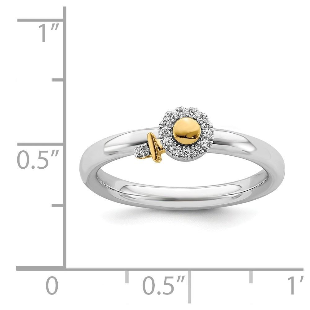 Picture of Diamond Gold-Plated Venus Symbol Ring Sterling Silver