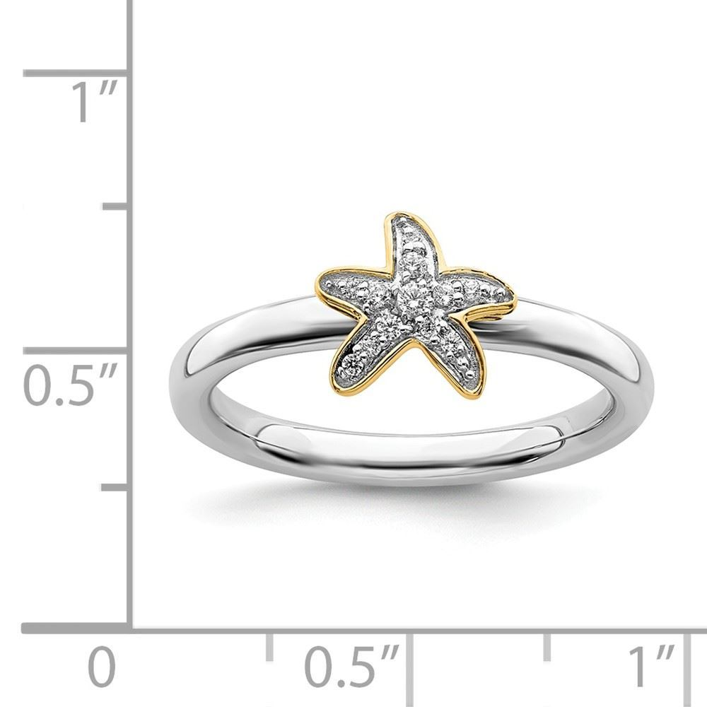Picture of Diamond Gold-Plated Starfish Ring Sterling Silver