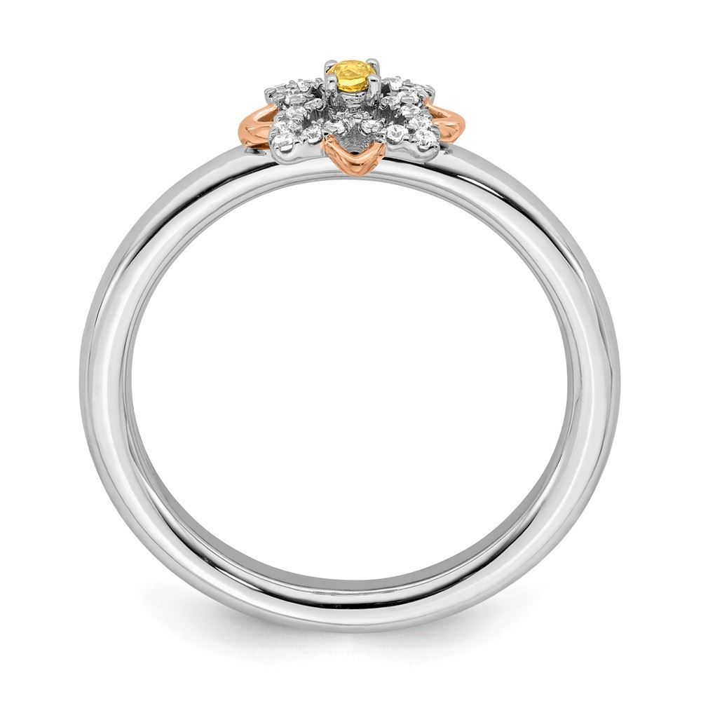 Picture of Rose-Plated Flower Citrine and Diamonds Ring Sterling Silver