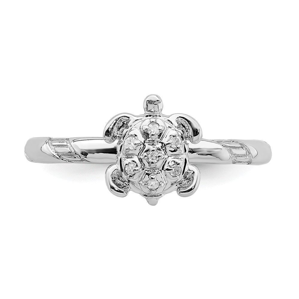 Picture of Diamond Turtle Ring Sterling Silver