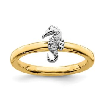 Picture of Diamond Seahorse Ring Sterling Silver Gold Plated