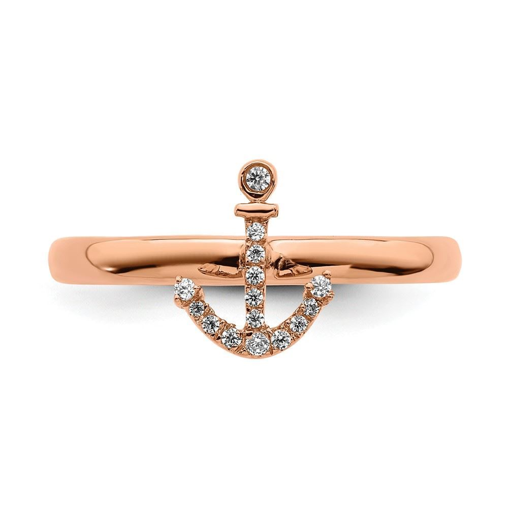 Picture of Diamond Anchor Ring Sterling Silver Rose Gold Plated