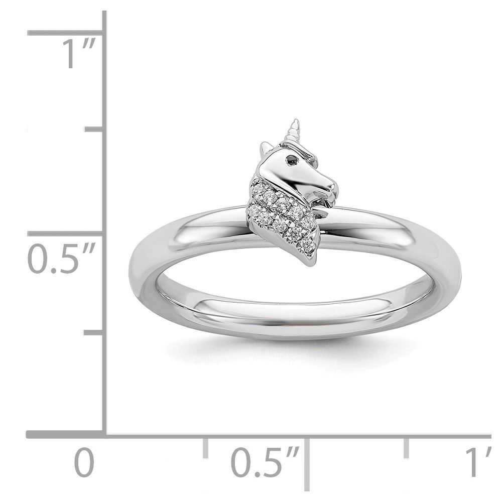 Picture of Diamond Unicorn Ring Sterling Silver