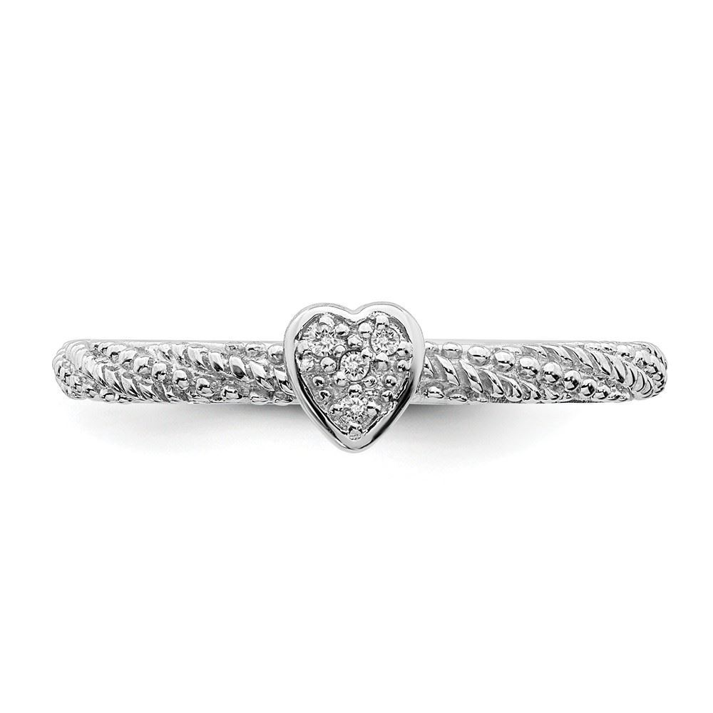 Picture of Diamond Textured Heart Ring Sterling Silver Stackable Expressions