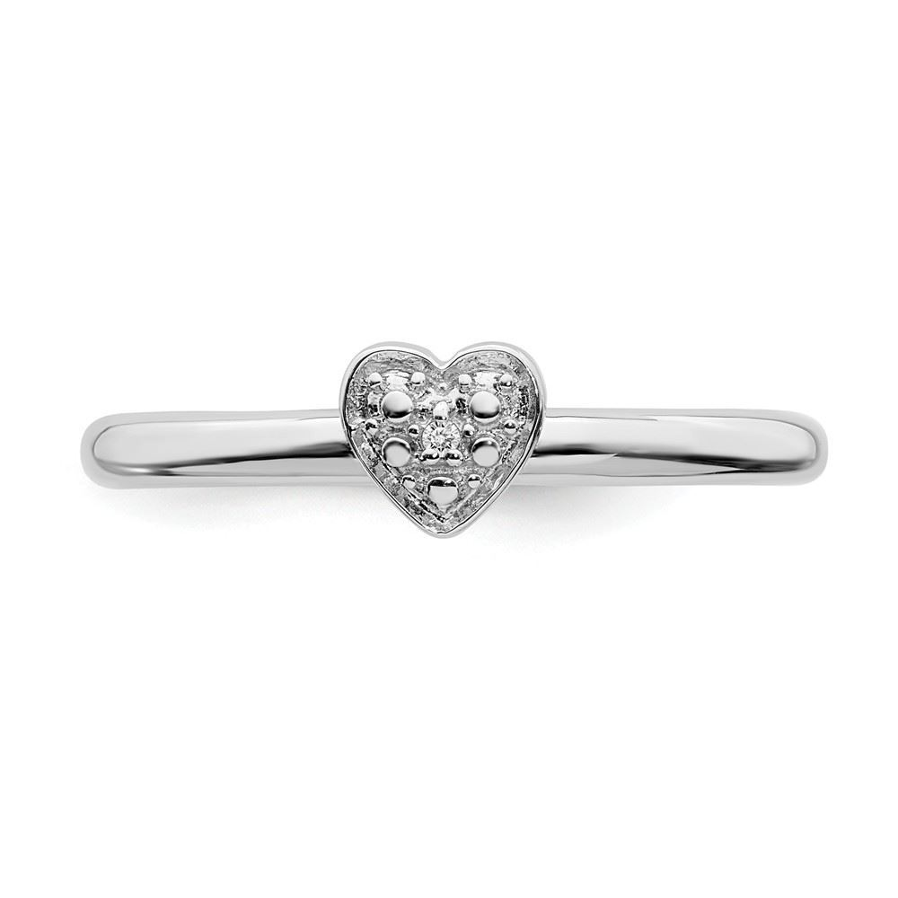 Picture of Diamond Heart Ring Sterling Silver Stackable Expressions