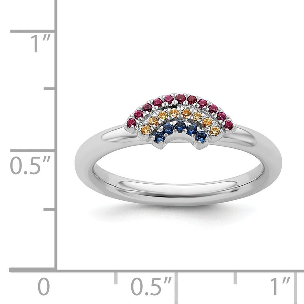 Picture of Silver Rainbow Ring Multi Color Gemstones