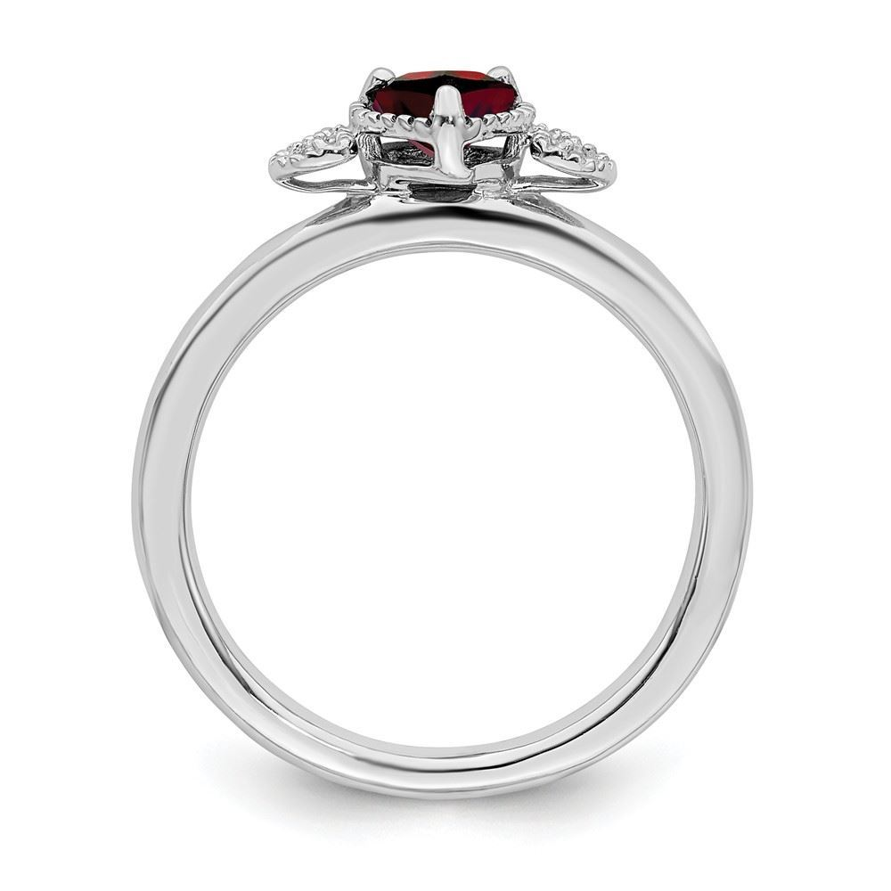 Picture of Silver Garnet And Diamond Hearts Ring