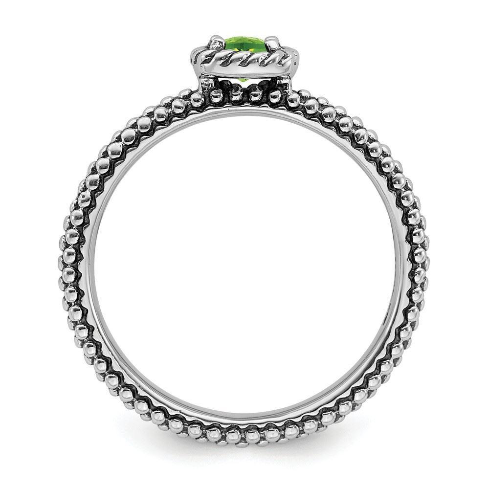 Picture of Silver Fashion Ring Cushion-Cut Peridot Stone