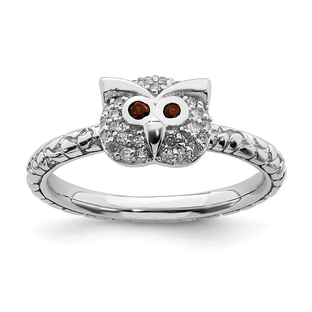 Picture of Silver Owl Garnet And Diamond Ring