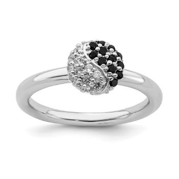 Picture of Yin Yang White Topaz and Onyx Silver Ring