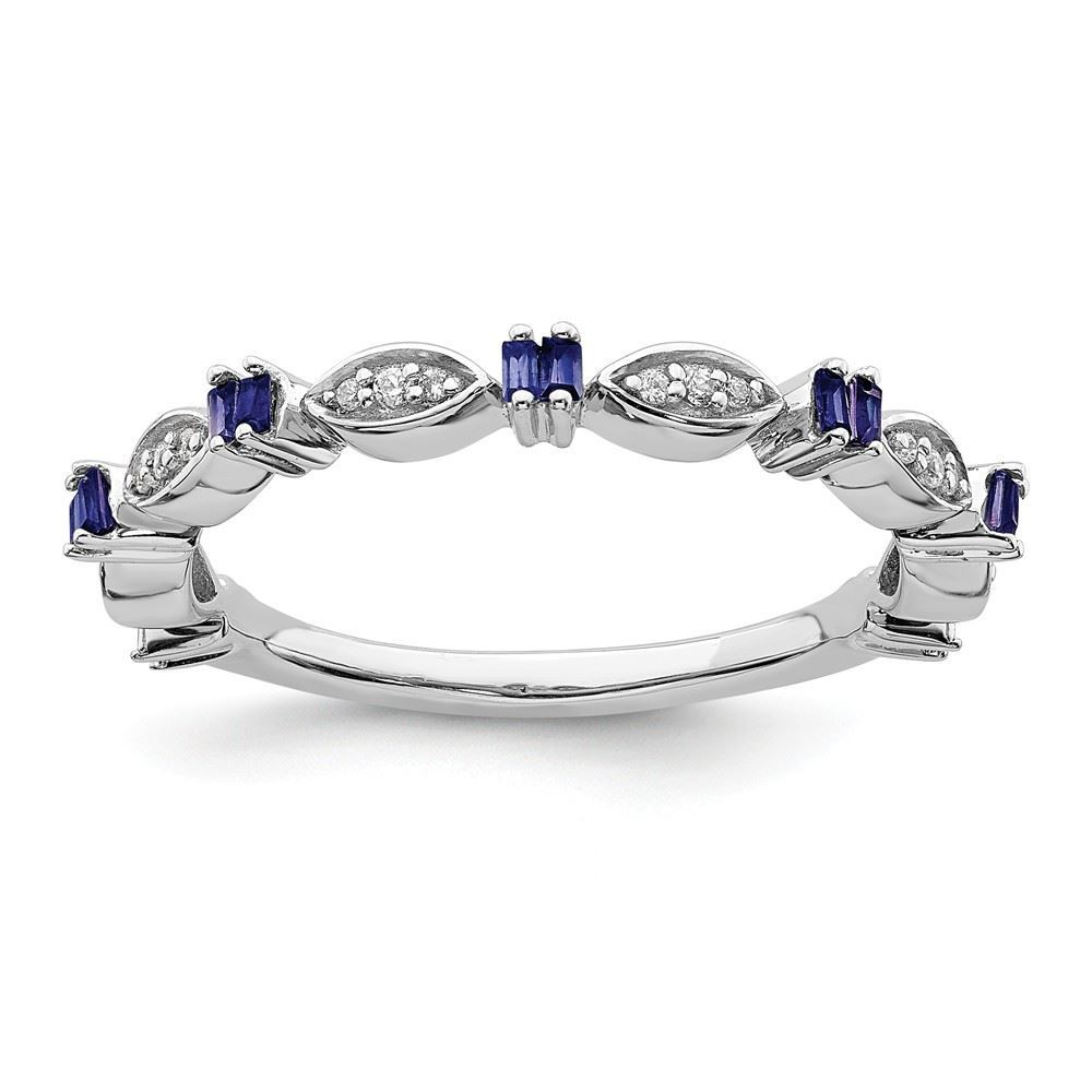 Picture of Sterling  Silver Stackable Created Sapphire Diamond Ring
