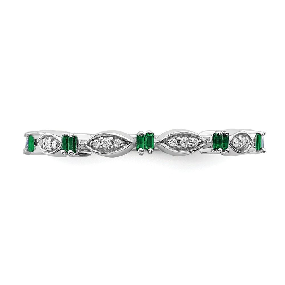 Picture of Sterling  Silver Stackable Created Emerald Diamond Ring